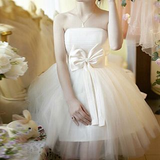 Strapless Bow-Accent Tulle A-Line Cocktail Dress