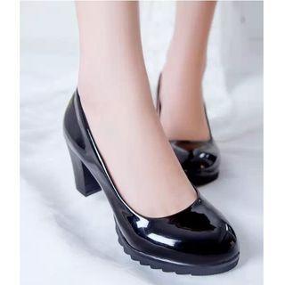 Image of Patent Block Heel Pumps
