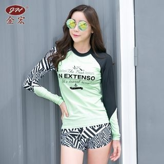 Set: Patterned Bikini Top + Lettering Rashguard + Patterned Swim Shorts 1057253805