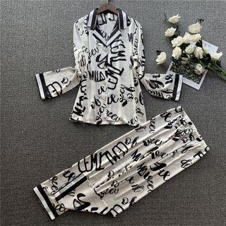 Pajama   Shirt   Silk   Faux   Pant