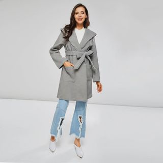 Image of Hooded Tie-Waist Coat Gray - One Size