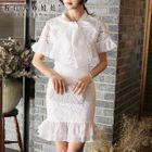 Short-Sleeve Ruffled Lace Dress 1596
