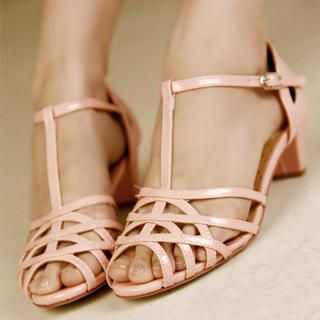 Buy Kvoll Patent T-Strap Sandals 1022991301