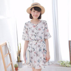 Short-Sleeve Floral Ruffle Dress 1596