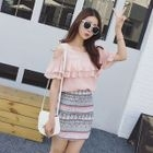 Ruffle Cutout Shoulder Short-Sleeve T-Shirt 1596