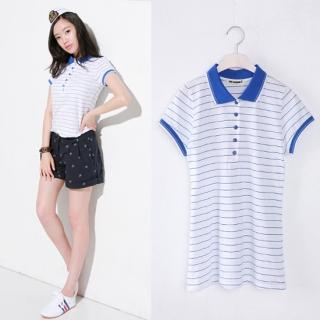 Picture of Celli Girl Striped Polo-Shirt 1022781655 (Celli Girl Tees, Womens Tees, South Korea Tees, Polo Shirts)