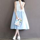Color Block Chiffon Sleeveless Dress 1596