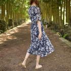 Tie-Waist Floral Chiffon Long Dress 1596