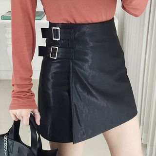 Wrap-Front Faux-Leather Mini Skirt