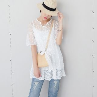 Set: Embroidered Short-Sleeve A-Line Dress + Strappy Dress 1060580413