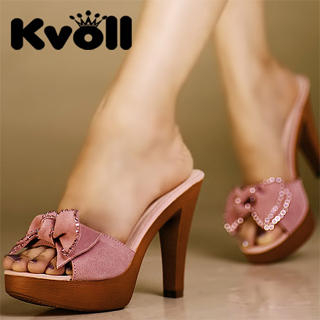 "48d44e2ad198 Buy Kvoll Genuine Leather ""Bow"" Platform Sandals 1023069928"