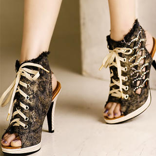 Picture of Kvoll Denim Cutout Sneaker Heels 1023070472 (Sneakers, Kvoll Shoes, China Shoes, Womens Shoes, Womens Sneakers)
