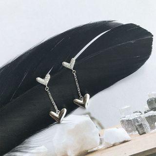 Rhinestone | Earring | Dangle | Figure | Heart | Size | One
