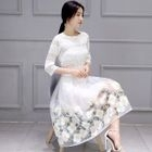 Set: Lace Top + Flower-Accent Skirt 1596