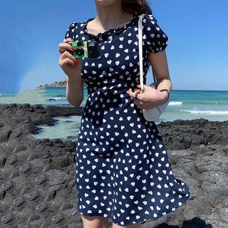 Short-sleeve   Heart   Dress   Print   Dark   Blue   Size   One