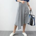Band-Waist Stripe Long Skirt 1596