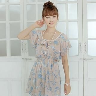 Picture of CLICK Flutter Sleeve Floral Chiffon Dress 1022965965 (CLICK Dresses, Womens Dresses, South Korea Dresses, Chiffon Dresses)