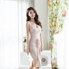 Sleeveless Cutout-Neckline Tie-Waist Long Dress 1596