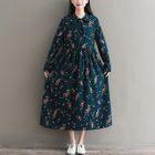 Floral Long-Sleeve Midi A-Line Dress 1596