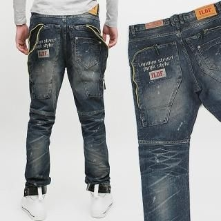 Picture of Peeps Zip Detail Back Pocket Washed Jeans 1022283202 (Peeps, Mens Denim, Korea)