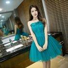 Strapless Frilled Trim Mini Prom Dress 1596