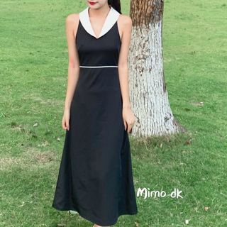 Image of Contrast Color Collared Sleeveless Dress