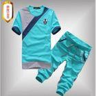 Set: Short-Sleeve Color-Block T-Shirt + Cropped Sweatpants 1596