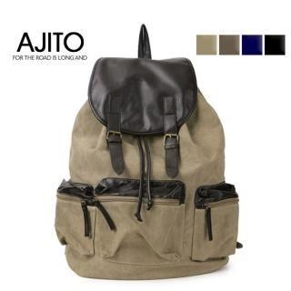 Picture of AJITO Faux-Leather Trim Canvas Backpack 1022848276 (AJITO, Backpacks, Korea Bags, Mens Bags, Mens Backpacks)
