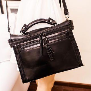 Faux-Leather Zip Satchel