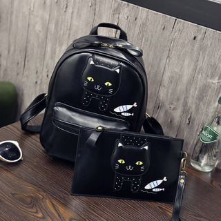 Set : Cat Faux Leather Backpack + Clutch