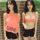 Set: Plain Bikini + Lettering Cover-Up 1596
