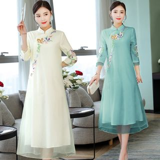 Image of 3/4-Sleeve Traditional Chinese Embroidered Midi A-Line Dress