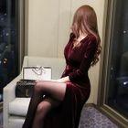 Tie-Waist Long Wrap Dress 1596