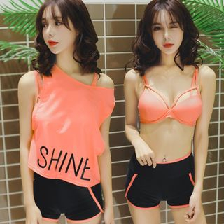 Set: Lettering Tank Top + Bikini Top + Swim Shorts 1060418292