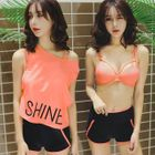 Set: Lettering Tank Top + Bikini Top + Swim Shorts 1596
