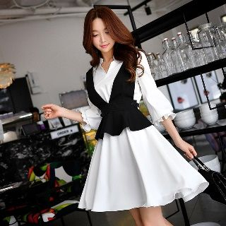 Set: 3/4-Sleeve Shirtdress + Ruffle Vest 1061512523