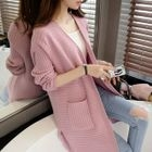 Maternity Ribbed Knit Long Cardigan 1596