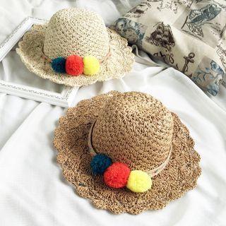 Pom Pom Straw Hat 1050744293