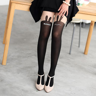 Rabbit Print Two-Tone Tights Black and Nude - One Size 1033039604