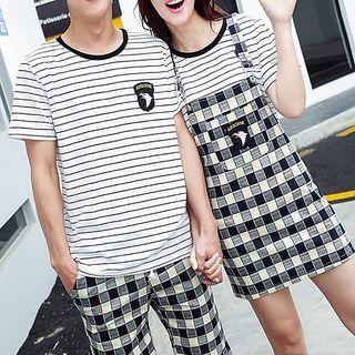 Couple Matching Set: Striped Short Sleeve T-Shirt + Plaid Shorts/ Pinafore Dress 1058474346