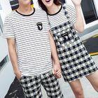 Couple Matching Set: Striped Short Sleeve T-Shirt + Plaid Shorts/ Pinafore Dress 1596
