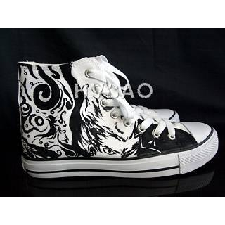 """Black-and-White Boy"""" High-Top Canvas Sneakers"""