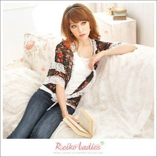 Buy Reiko Ladies Lace-Trim Chiffon Cardigan Black – One Size 1022972636