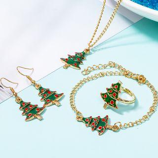 Christmas | Bracelet | Necklace | Earring | Pendant | Green | Tree | Ring | Gold | Size | One | Set