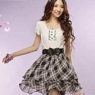 Buy Tokyo Fashion Bow Mock Two-Piece Plaid Dress 1022412027