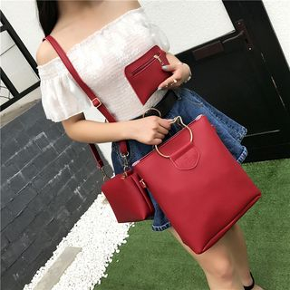 Faux Leather Tote Bag Set 1061365104
