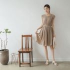 Cap-Sleeve Shirred Flare Dress with Belt 1596