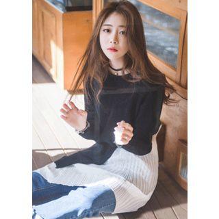 Cutout Knit Top Overlay Pleat Dress 1048925719