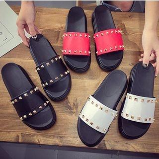Studded Faux-Leather Platform Slide Sandals 1060447189