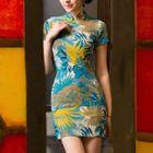 Cap-Sleeve Print Linen Cheongsam 1596